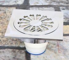 Polished Chrome Bathroom Floor Drain Square Shower Waste Water Strainer nhr054