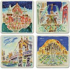 Cincinnati Treasures Absorbent Coaster Set Fountain Square Music Hall Roebling