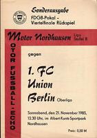 FDGB-Pokal 85/86 BSG Motor Nordhausen - 1. FC Union Berlin, 21.11.1985