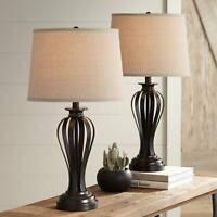 Modern Table Lamps Set of 2 Open Profile Bronze for Living Room Bedroom Bedside