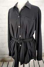 TravelSmith Travel Tunic Top Button Down Belted Women's Small Black Long Sleeve