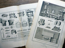 Encyclopédie Diderot D'Alembert 2 Planches CIRIER Cire à cacheter Cierges 18e s.