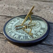 More details for round brass tone sundial with roman numerals 11cm round wood base felt lined
