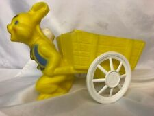 Vintage Yellow Easter Bunny Rabbit Plastic Pull Along Wagon Blow Mold