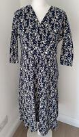 Seasalt Organic Cotton Chacewater Dress Navy Cow Parsley UK 16 **Hole**