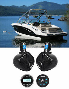 "Memphis Audio MXA1MC Marine Bluetooth Receiver+Remote+2) 6.5"" Wakeboard Speakers"
