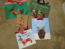 Set Lot of 5 Christmas Holiday DACHSHUND Dog Gift Bags *Glitter*  - NEW