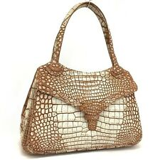 New KWANPEN Genuine Mat Crocodile Vanilla dyed Leather Shoulder Tote Bag / y3213