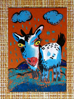 ACEO original pastel painting outsider folk art brut #010415 surreal goat
