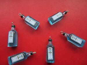 6 X GIN BOTTLES CHARMS PENDANTS RESIN BOMBAY SAPPHIRE KAWAII