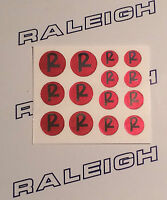 RALEIGH BUDGIE, CHOPPER, GRIFTER, TOMAHAWK RED ON CHROME VINYL R NUT LOGO DECALS
