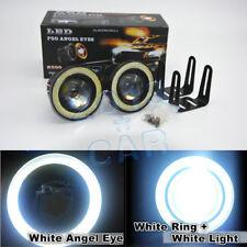 "2pcs High Power 3.0"" LED COB Fog Lights Projector w/ White Angel Eye Halo Rings"
