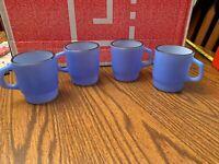Anchor Hocking Fire King Oven Ware Vtg Blue Black Rim Coffee Mugs Set Of 4