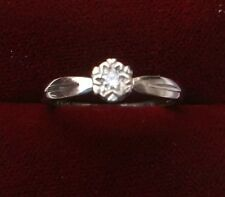 Women's Diamond Soliaire Ring 9ct White Gold Ring Size M Hallmarked Weight 1.8g