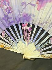 New listing Exquisite Carved Bone (bovine) Hand-Painted Hand Fan