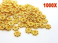 1000pc Gold Plated Daisy Flower Spacer Beads Jewellery Craft Bead Findings 4/6mm