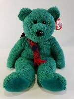 """TY 13"""" Beanie Buddy """"Wallace"""" Green Bear with Red Scarf"""