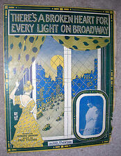 1915 THERE'S A BROKEN HEART FOR EVERY LIGHT ON BROADWAY Sheet Music D. CONNOLLY