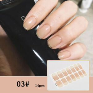 Full Nail Tips Stickers UV Gel Nail Decoration Pink French Decals Tips DIY