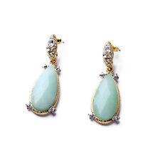 Boucles d`Oreilles Clous Cristal Pierre Goutte Bleu Pale Vintage Class XX 8