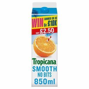 Tropicana Smooth Orange Juice 850ml Price Marked £2.50 x 6 Cafe Takeaway