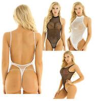 Sexy Womens Mesh Sheer Leotard Bodysuit Catsuit Jumpsuit Romper Tank Top Thongs