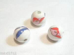 10 pcs x 12mm Porcelain Beads : Porc59 : Floral
