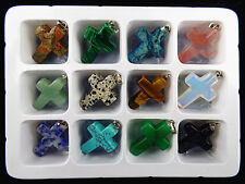 Wholesale12pcs Beautiful mixed stone carved Cross pendant bead BC856