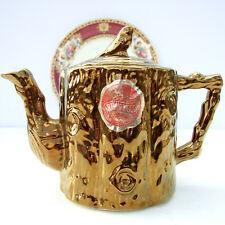Vintage Retro 1950s Arthur Wood Teapot Gold Tree Bark Bird Original Label