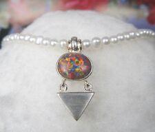 Opal Design Anhänger Collier 925er  Silber mit Zuchtperlen Kette 46 cm