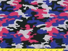 Pink Blue Gray & Black Camo Quilting Fabric 1/2 Yard  #c3