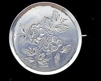 Antique Victorian silver etched brooch. B30.