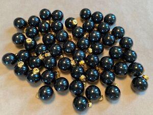 52 Black Mini Glass Ornament Christmas Balls Miniature Tree Feather Halloween