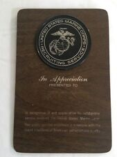 1970 Outstanding Service Appreciation Plaque U.S.M.C. Marines Recruiting Service