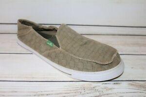 sanuk Brand Men's Beige Canvas Fabric Slip Flats Size 11 LIKE NEW