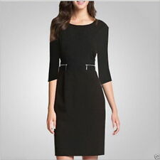 Knee Length Cotton Blend 3/4 Sleeve Casual Dresses for Women