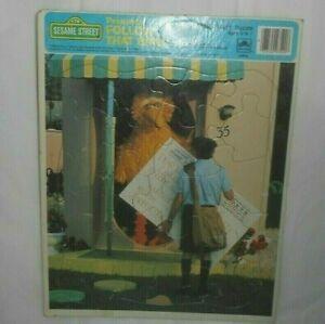 VINTAGE 1985 FRAME TRAY KIDS PUZZLE SESAME STREET FOLLOW BIG BIRD 100% COMPLETE
