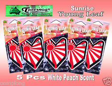 5 Packs Treefrog Sunrise YOUNG LEAF  Car Air Freshener WHITE PEACH Scent.JDM