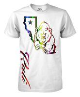 California Republic T-Shirt Cali Bear State Map Tee Men's Rainbow Shirt
