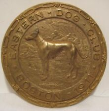 Old 1911 Boston Eastern Dog Club Brass / Bronze Medallion Pin w/ Embossed Chains