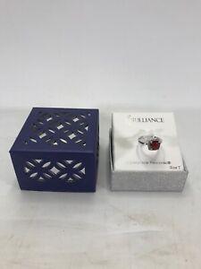 Brilliance Ring - Crystals from Swarovski - Silver Ruby Stone Size 7 NEW W BOX