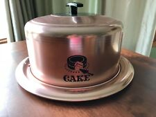 60s West Bend Aluminum Copper Cake Cove Dome Server Locking Tray Keep Fresh USA