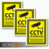 3 CCTV stickers camera sticker warning sign decals CCTV in operation 77 x 100mm