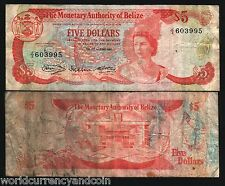 BELIZE 5 DOLLARS P39 1980 QUEEN BIRD LIZARD RARE GB UK USED CARIBBEAN BANK NOTE
