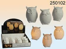 Keramik-Eule mit LED mit Batterie 9 cm weiß Dekoration Windlicht Flur Esszimmer