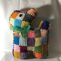 Handmade Crochet Scottie Dog Pillow 9 x 12 Colorful Patches