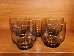 Vintage Set Of 5 Libbey 'Tawny Accent' Glass Tumblers