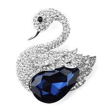 Luxury Silver Sapphire Dark Blue Stone Swan Shiny Crystal Women Brooch Pin BR418