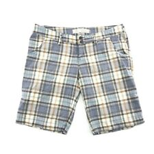 Hollister Womens Juniors Blue Plaid Bermuda Walking Shorts 9