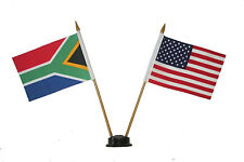 "USA & SOUTH AFRICA 4"" X 6"" DOUBLE STICK FLAG WITH BLACK STAND ON 10"" PLAST. POLE"